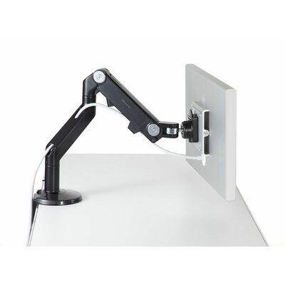 M8 Monitor Height Adjustable Desk Mount Finish: Black with Black Trim, Base Type: Clamp