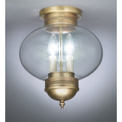 Onion 2-Light Sockets No Cage Semi Flush Mount Finish: Dark Brass, Shade Color: Clear