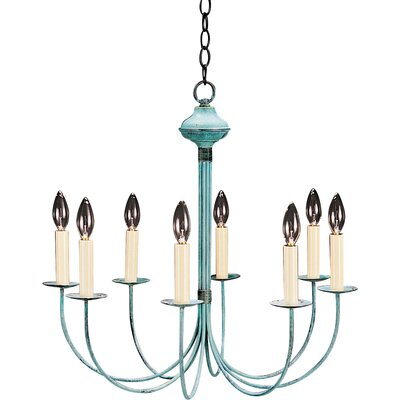 Socket Hanging J-Arms 8-Light Candle-Style Chandelier Finish: Raw Brass