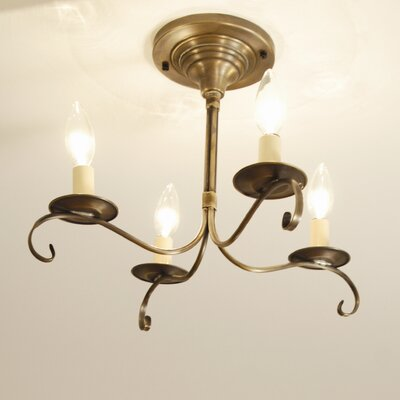 Chandelier 4-Light Candle-Style Chandelier Finish: Raw Brass