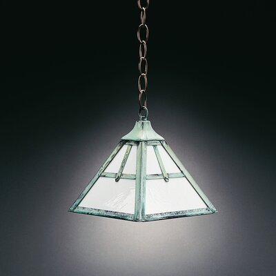 1-Light Hanging Pendant Finish: Verdi Gris, Glass Color: Caramel