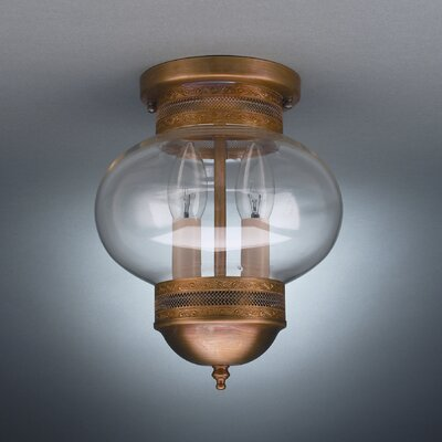 Onion 10 2-Light Sockets No Cage Semi Flush Mount Finish: Dark Antique Brass, Shade Color: Clear