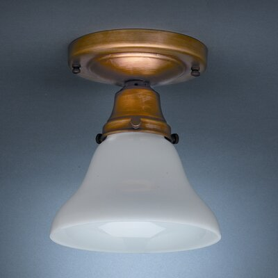 Pendant 6 1-Light Semi Flush Mount Finish: Antique Brass, Shade Color: 51G Green