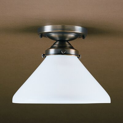 Pendant 7.25 Socket Semi Flush Mount Finish: Dark Antique Brass, Shade Color: 70G Green