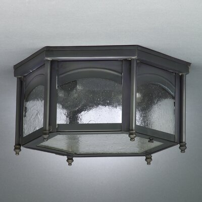 Williams 6.5 Medium Base Sockets Flush Mount with Finials Finish: Antique Brass, Shade Color: Frosted