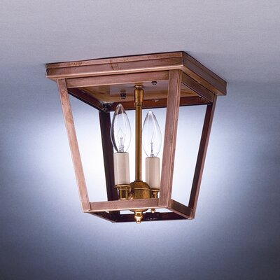 Williams Square Flush Mount Finish: Raw Brass, Shade Color: Clear Seedy