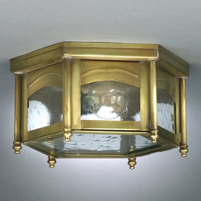 Williams 5.5 1-Light Flush Mount Finish: Dark Antique Brass, Shade Color: Caramel