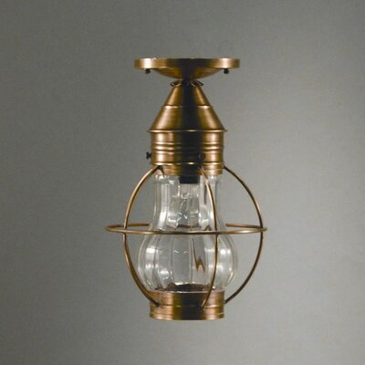 Onion Socket Caged Pear Semi Flush Mount Finish: Raw Brass, Shade Color: Optic