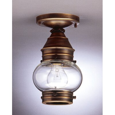 Onion 5 Socket No Cage Semi Flush Mount Finish: Raw Brass, Shade Color: Optic