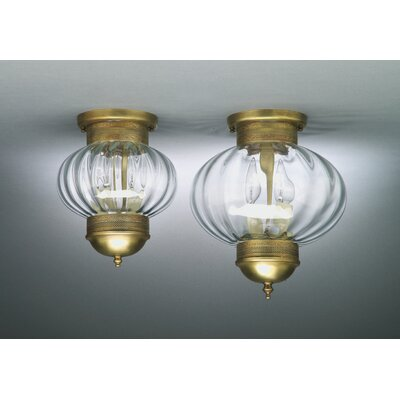 Onion 10 2-Light Sockets No Cage Semi Flush Mount Finish: Antique Brass, Shade Color: Optic