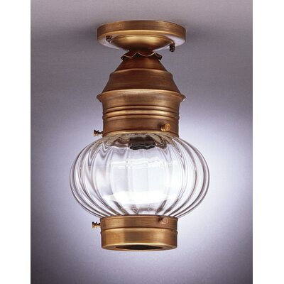 Onion 15.5 Medium Base Socket No Cage Semi Flush Mount Finish: Dark Brass, Shade Color: Clear Seedy