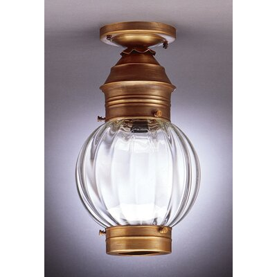 Onion Socket Round Semi Flush Mount Finish: Dark Antique Brass, Shade Color: Clear