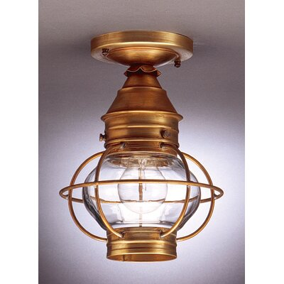Onion Socket Caged Semi Flush Mount Finish: Antique Copper, Shade Color: Clear