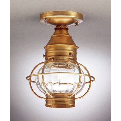 Onion Socket Caged Semi Flush Mount Finish: Antique Brass, Shade Color: Frosted