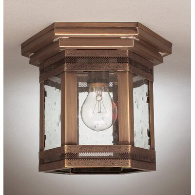 Williams Medium Base Socket Flush Mount with Galley Finish: Dark Antique Brass, Shade Color: Clear