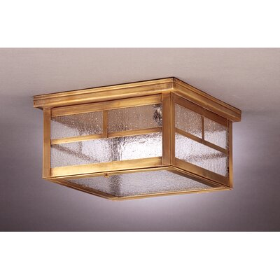 Williams 6 Two Medium Base Sockets Flush Mount Finish: Antique Brass, Shade Color: Seedy Marine