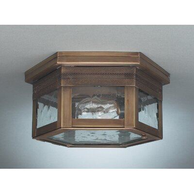 Williams 5 1-Light Sockets Flush Mount Finish: Dark Antique Brass, Shade Color: Seedy Marine