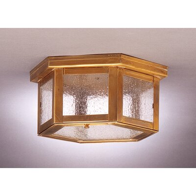 Williams 5 Sockets Flush Mount Finish: Antique Brass, Shade Color: Seedy Marine