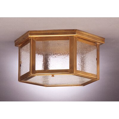Williams 5.75 Two Medium Base Sockets Flush Mount Finish: Antique Brass, Shade Color: Seedy Marine
