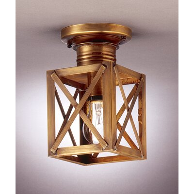 Suffolk 9 1-Light Semi Flush Mount Finish: Dark Antique Brass, Shade Color: Seedy Marine