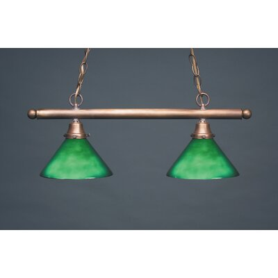 Pendant Two Medium Base Sockets Hanging Pendant Finish: Antique Brass, Glass Type: 50G Green
