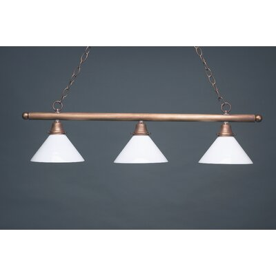Pendant Three Medium Base Sockets Hanging Pendant Finish: Dark Antique Brass, Glass Type: 50G Green