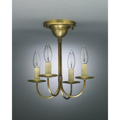 Chandelier 4-Light Semi Flush Mount Finish: Antique Brass