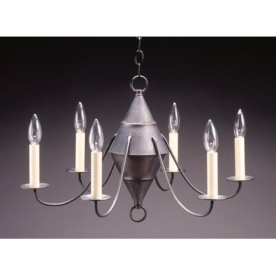 Socket Hanging Cylinder J-Arms 6-Light Candle-Style Chandelier Finish: Antique Brass