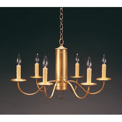 Socket Hanging Cylinder J-Arms 6-Light Candle-Style Chandelier Finish: Verdi Gris