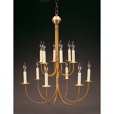 Sockets Hanging 2 Tier J-Arms 12-Light Candle-Style Chandelier Finish: Raw Brass