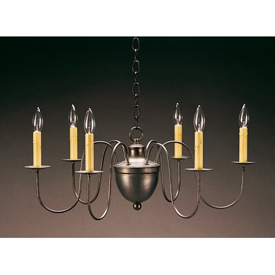 Sockets Hanging Half Ball S-Arms 6-Light Candle-Style Chandelier Finish: Raw Brass