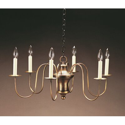 Sockets Hanging Bell Body S-Arms 6-Light Candle-Style Chandelier Finish: Raw Brass