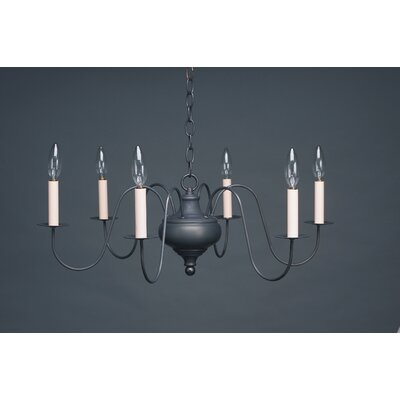 Sockets Hanging Bowl S-Arms 6-Light Candle-Style Chandelier Finish: Dark Antique Brass