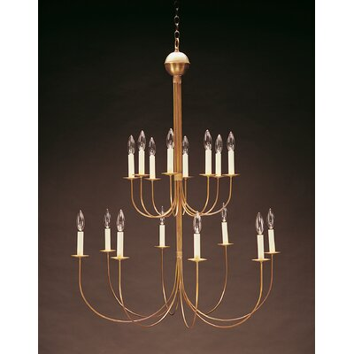 Sockets Hanging 2 Tier J-Arms 16-Light Candle-Style Chandelier Finish: Raw Brass