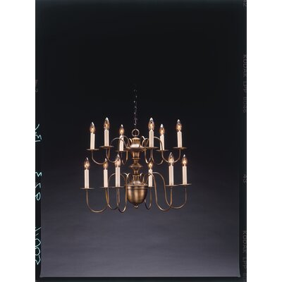 Sockets Hanging 2 Tier Half Ball S-Arms 12-Light Candle-Style Chandelier Finish: Raw Brass