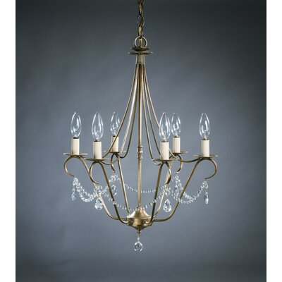 Sockets Hanging 6-Light Candle-Style Chandelier Finish: Verdi Gris