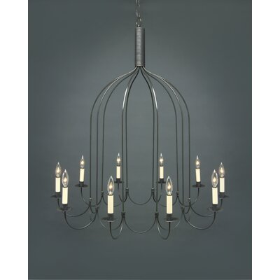 Sockets J-Arms Hanging 10-Light Candle-Style Chandelier Finish: Raw Brass