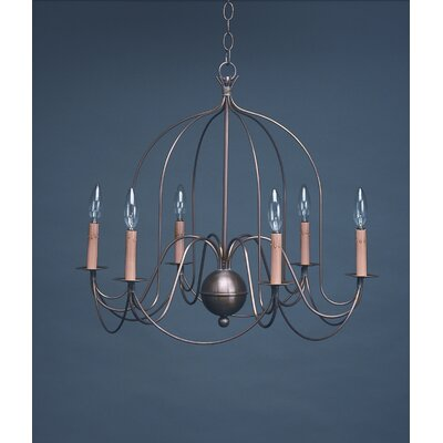 Sockets Bird Cage Hanging 6-Light Candle-Style Chandelier Finish: Raw Brass