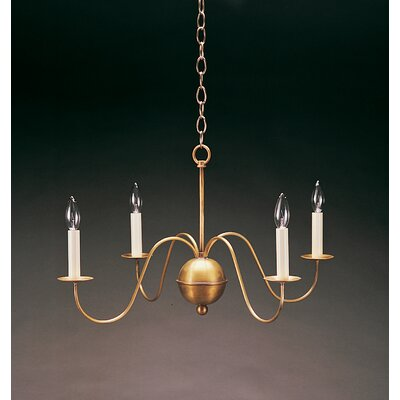 Sockets S-Arms Hanging 4-Light Candle-Style Chandelier Finish: Dark Antique Brass