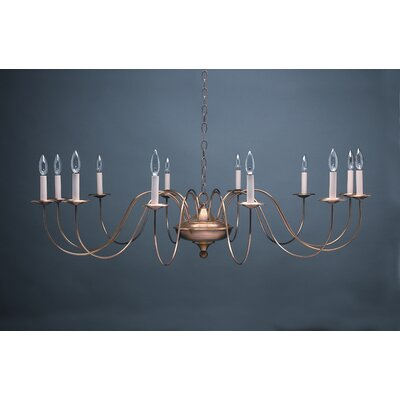 Sockets S-Arms Hanging 12-Light Candle-Style Chandelier Finish: Raw Brass