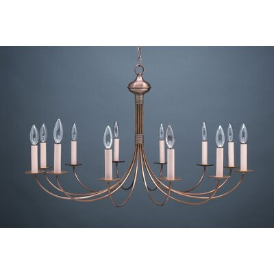 Sockets J-Arms Hanging 12-Light Candle-Style Chandelier Finish: Raw Brass