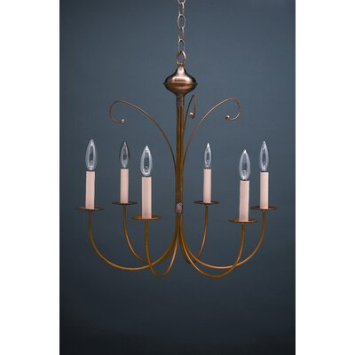 Sockets J-Arms Hanging 6-Light Candle-Style Chandelier Finish: Raw Brass