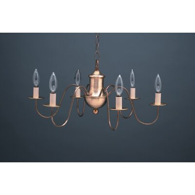 Sockets S-Arms Hanging 6-Light Candle-Style Chandelier Finish: Antique Brass