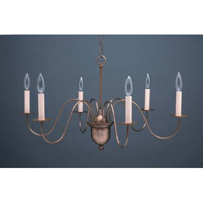 Sockets Hanging 6-Light Candle-Style Chandelier Finish: Raw Brass