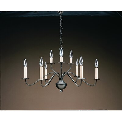 Sockets 2 Tier S-Arms Hanging 9-Light Candle-Style Chandelier Finish: Raw Brass