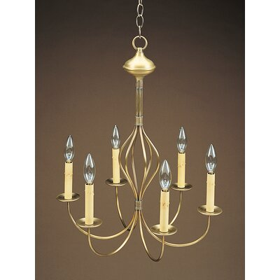 Sockets Center Bulge J-Arms Hanging 6-Light Candle-Style Chandelier Finish: Raw Brass