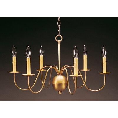 Sockets S-Arms Hanging 6-Light Candle-Style Chandelier Finish: Dark Brass