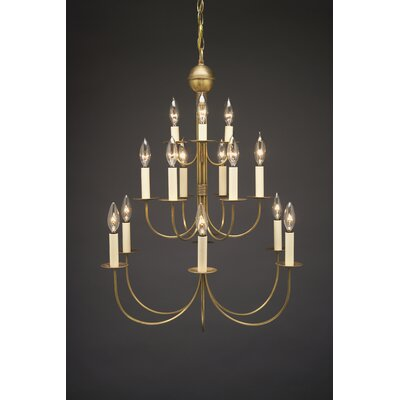 Sockets J-Arms Hanging 15-Light Candle-Style Chandelier Finish: Raw Brass