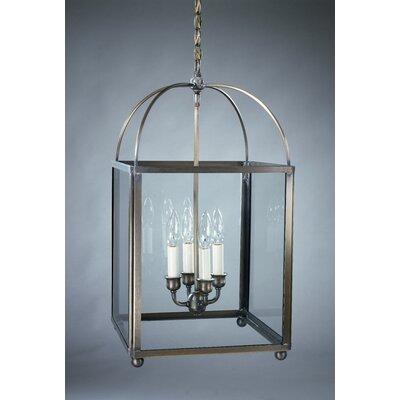 Chandelier 4-Light Foyer Pendant Finish: Dark Brass, Glass Type: Clear