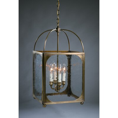 Chandelier 4-Light Foyer Pendant Finish: Dark Antique Brass, Glass Type: Seedy Marine